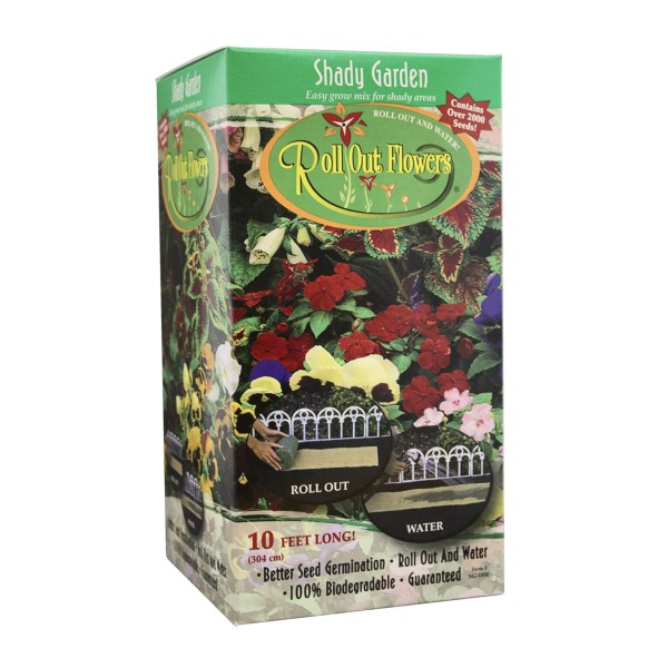 CLOSEOUTS . Have the flower garden you've always dreamed of without all of the work of individually planting seeds! Garden Innovations' roll out flower garden is a biodegradable garden containing more than 2000 premium seeds. Available Colors: BUTTERFLY/HUMMING BIRD, OLDE ENGLISH GARDEN, SHADY GARDEN, HYBRID SUNFLOWER.