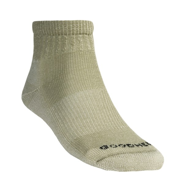 CLOSEOUTS . Goodhew's merino wool 1/4 crew hiking socks keep you dry and warm well after you find the perfect spot to pitch the tent. Available Colors: NAVY, KHAKI, TAUPE, GREY, BLACK. Sizes: S/M, M/L, L/XL, 2XL.
