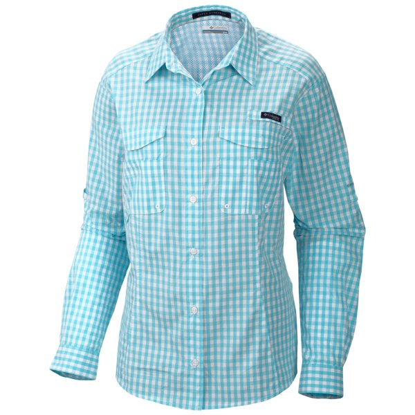 CLOSEOUTS . What looks like a classic button-down is actually Columbia Sportswear's high-performance Super Bonehead shirt designed specifically to meet the needs of lady anglers. This functional shirt features Omni-Shade(R) UPF 30 sun protection, four fly box pockets and an upper-back venting system to keep you comfortable on all-day fishing trips. Available Colors: KEY WEST, WHITE CAP STRIPE, GULF STREAM, NICO, ISLA STRIPE, LEMON WHIP STRIPE, ORANGE SHERBET, ELDERBERRY, FADED IRIS/BIG BUFFALO, HELIOTROPE/GINGHAM, DANDELION/BIG BUFFALO, LEAPFROG/DOBBY, WHITE/KEY WEST TOILE PRT, VIVID BLUE DIGITAL CIRCLES, VIVID BLUE/KEY WEST TOILE PRT, MARMALADE DIGITAL CIRCLES, 17, ELDERBERRY/GINGHAM, FADED IRIS/DOBBY, FAIRYTALE/GINGHAM, WILD MELON/GINGHAM, WILD MELON/PICK STITCH, AFTERGLOW/GINGHAM, PINK TAFFY/BIG BUFFALO, NUCLEAR MULTI GINGHAM, NEON LIGHT/GINGHAM, BLACK GINGHAM, FOSSIL/LARGE MULTI CHECK, GLAZE GREEN/LARGE MULTI CHECK, BRIGHT ROSE/LARGE MULTI CHECK, SUMMER ORANGE/OPTIC PLAID, LIGHT GRAPE/GINGHAM, OCEAN/PICK STITCH, CLEAR BLUE/GINGHAM, CLEAR BLUE/DOUBLE CHECK, WHITENED VIOLET/GINGHAM, RAZZLE/MULTI, RED HIBISCUS/MULTI, TIPPET/GINGHAM, ORANGE BLAST/DOUBLE CHECK, CLEAR BLUE/NEW GINGHAM, COLLEGIATE NAVY/NEW GINGHAM, BLOSSOM PINK/GINGHAM, TANGO PINK/NEW GINGHAM. Sizes: XS, S, M, L, XL.
