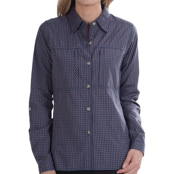 CLOSEOUTS . ExOfficio's Dryflylite Check shirt looks so cute, you'll never guess what's going on below the surface! Moisture-wicking action, UPF 30 protection from the sun and quick-drying properties are hard at work within the fabric to help you keep your cool. Available Colors: WINE, PALE EUCALYPTUS, LICHEN, CORAL, ROSE, BALTIC, SEAGLASS, LAPIS, MELON, SEAFOAM, LYCHEE, LIGHT LAPIS, ROSEMARY, ENSIGN, DEEP NILE, PLUM, DARK PATINA, ISLE, KINETIC, ANTIQUE, TROPEZ, NECTAR. Sizes: XS, S, M, L, XL, 2XL.