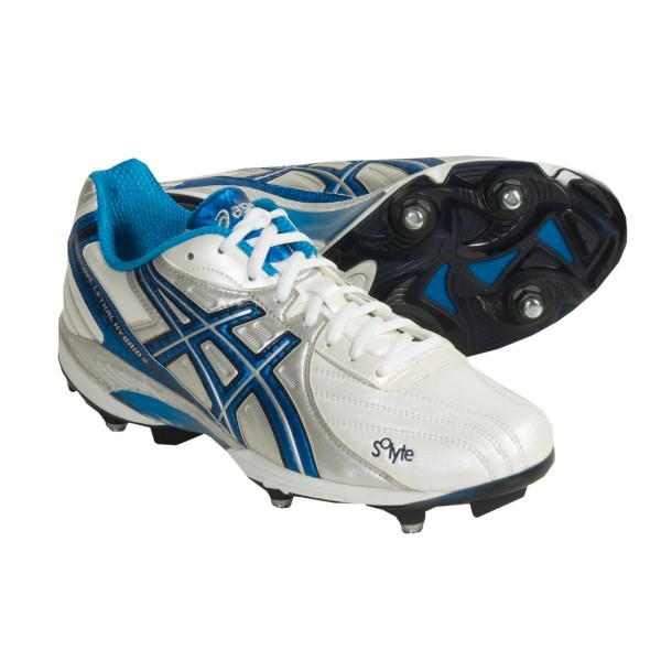 CLOSEOUTS . Ideal for lacrosse, rugby or any sport played on field turf, Asics Lethal Hybrid field sport shoes feature an interchangeable cleat system that allows for versatile adjustments to changing turf conditions. Plus, the Lethal Hybrid boasts a unique 10mm heel gradient that shifts body mass forward to reduce stress on your lower limbs. Available Colors: WHITE/VIVID BLUE/SILVER. Sizes: 7, 7.5, 8, 8.5, 9, 9.5, 10, 10.5, 11, 11.5, 12, 13, 16.