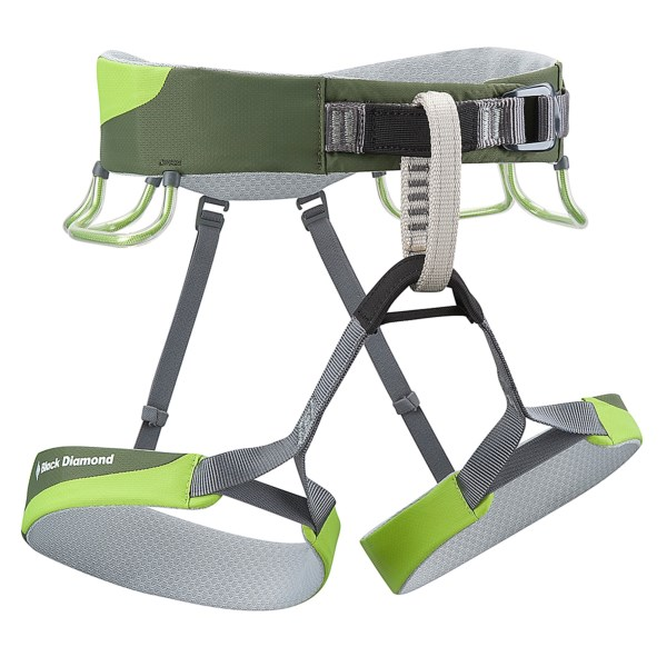 CLOSEOUTS . Keep your pack light and your safety measures heavy with Black Diamond Equipment's ultralight Ozone climbing harness. This harness keeps a low profile with a bullhorn-shaped waistbelt built with Kinetic Core Construction, which offers comfort without bulky padding. Available Colors: BURNT ORANGE, LIME GREEN. Sizes: L, M, S, XL.
