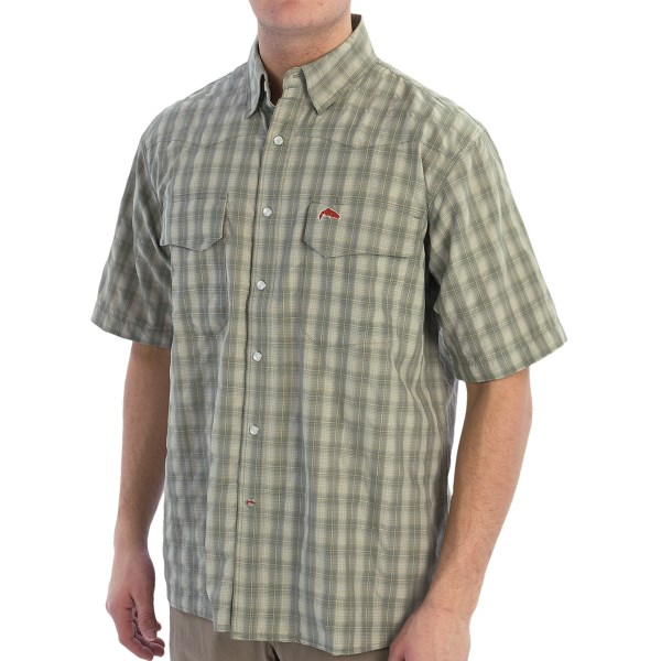 CLOSEOUTS . Don't be fooled by the casual, western look of Simms' Big Sky fishing shirt -- it's not only perfect for everyday wear around town, but it's perfect for fishing and hiking, too! Performance features like moisture-wicking COR3 Technology, back yoke venting and UPF 30 sun protection keep you comfortable on the water and off. Available Colors: BLUE, BLACK, GREEN, BIRCH PLAID, SMOKE BLUE PLAID, SIMMS ORANGE PLAID, CONCRETE PLAID, SAGEBRUSH PLAID, WINE PLAID. Sizes: S, M, L, XL, 2XL.