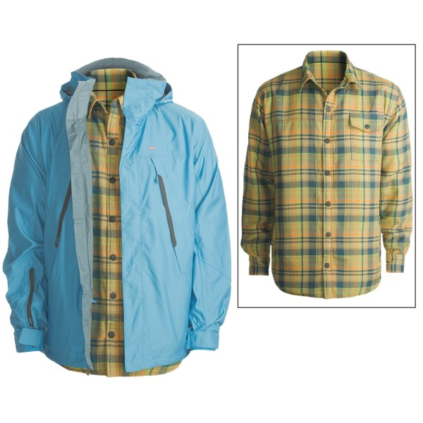 CLOSEOUTS . Get some serious bang for your buck with Foursquare's Melnick jacket, a versatile 3-in-1 combo that joins a waterproof breathable shell with a warm and stylish insulated shirt jacket. Available Colors: CROSSROAD GRAIN, CROSSROAD CURRANT, BLUEBIRD, CURRANT. Sizes: M, L, XL, S, 2XL.