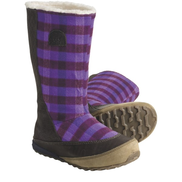 CLOSEOUTS . Sorel's MacKenzie Slip Holiday tall boots are perfect for everyday wear during cold winter weather. They feature water-resistant leather and textile upper with soft fleece lining, in a stylish, versatile and functional design. Available Colors: PEAT MOSS/DEEP TEAL, STOUT/ROYAL PURPLE. Sizes: 5, 5.5, 6, 6.5, 7, 7.5, 8, 8.5, 9, 9.5, 10, 10.5, 11, 12.