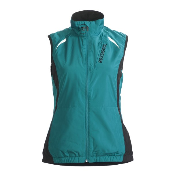 CLOSEOUTS . Break away from the concrete jungle in Rossignol's Escape vest. The Durable Water Repellent (DWR) finish adds durability and repels water, the stretchy yoke offers additional mobility, and the large lower-back pocket provides storage for essentials. Available Colors: BLACK, FUCHSIA, OPAL. Sizes: S, M, L, XL.
