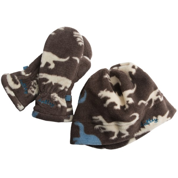 CLOSEOUTS . Thanks to polyester microfleece, Hatley's Polar Fleece mitts and hat combo keeps cold ears and hands warm and cozy during chilly winter weather. Available Colors: HUNTER JUMPER, BEAR COUNTRY, DINOSAURS, WINTER BIRDS. Sizes: S, M, L.