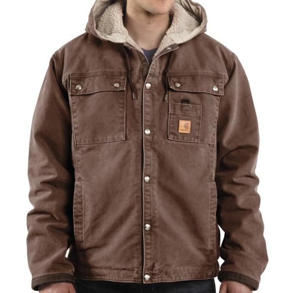 Carhartt Sandstone Hooded Multi-Pocket Jacket/Sherpa Lined