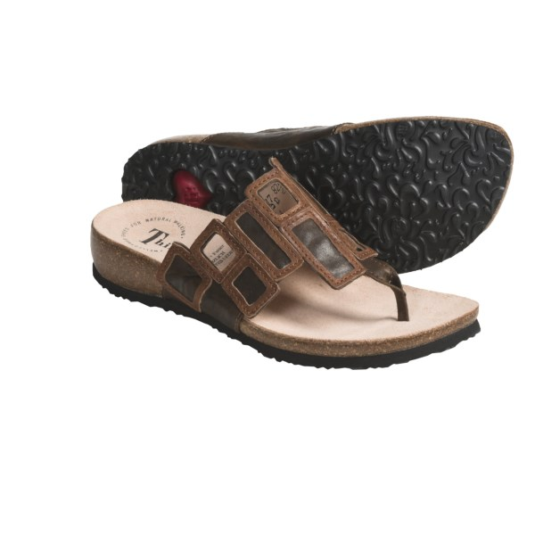 CLOSEOUTS . Contrasting leather in a geometric design lends textural beauty to Think! Julia thong sandals. Available Colors: CAFE COMBO. Sizes: 36, 37, 38, 39, 40, 41, 42, 43.