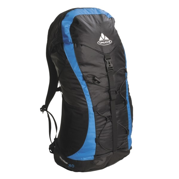 CLOSEOUTS . Weighing in at less than two pounds, Vaude's Ultra Hiker 30 backpack has an Aeroflex suspension system to keep your back cool, with a mesh panel that allows air to circulate. Available Colors: BLACK/LIGHT BROWN, BLACK/BLUE, BLACK/PEBBLES, PEBBLES.