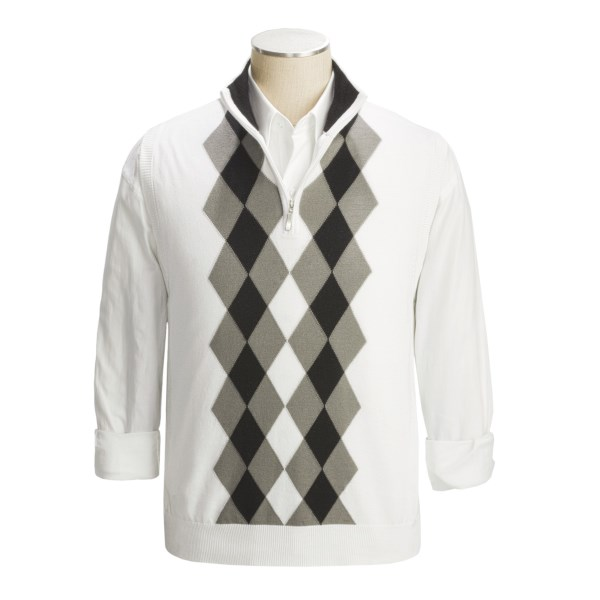 Toscano Modern Argyle Zip Neck Vest - Cotton (For Men)