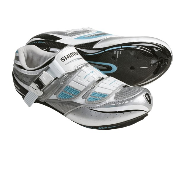 CLOSEOUTS . A customizable, women-specific fit and incredible power transfer from its carbon-fiber sole make Shimano's SH-WR81 road cycling shoes the choice for the committed road enthusiast. Available Colors: WHITE. Sizes: 36, 37, 38, 39.5, 40, 41, 41.5, 42, 43, 43.5, 44.