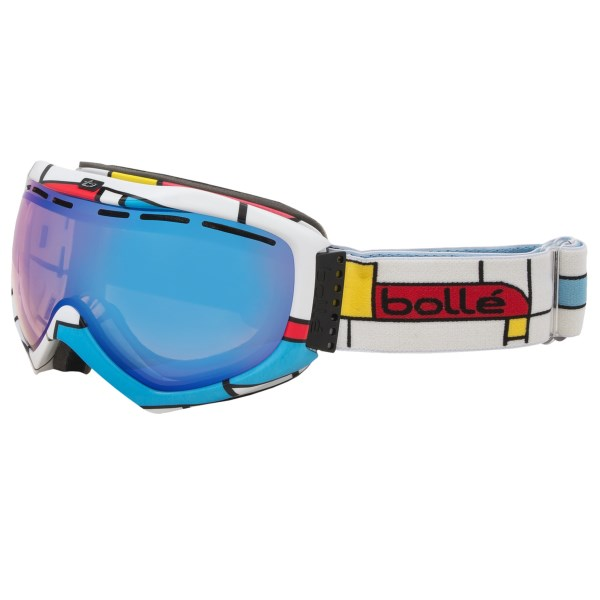 CLOSEOUTS . Get out-of-this-world optical clarity and fog control with Bolle Quasar snowsport goggles. The combination of an anti-fog venting system and a light-reactive Modulator Vermillion lens results in one awesome pair of goggles. Available Colors: BLACK PLAID/MODULATOR VERMILLION, SHINY BLACK BADGE/MODULATOR VERMILLION, BLOCKS/MODULATOR VERMILLION, BLOCKS/MODULATOR VERMILLION BLUE, SHINY BLACK GRAFFITI/MODULATOR VERMILLION BLUE.