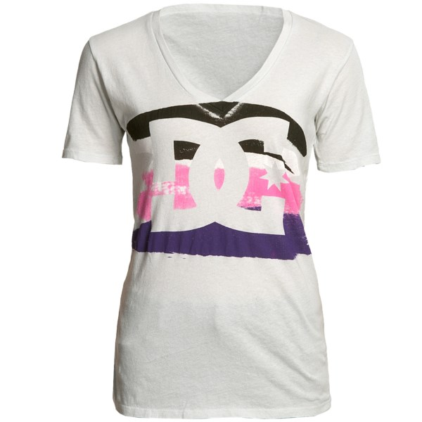 CLOSEOUTS . An artistic logo display tops DC Shoes' Who What Where T-shirt; the bold stripes of color resemble thick, imperfect brush strokes. Available Colors: VICTORIAS BLACK. Sizes: XS, S, M, L.