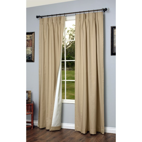 """CLOSEOUTS . The benefits of hanging Thermalogic's Weathermate pinch pleat 72x95andquot; insulated curtains are immediate! Not only do they block exterior temperatures, they also protect furniture from sun fade and reduce bothersome reflections on electronic screens. Available Colors: WHITE, NATURAL, SAGE, KHAKI. Sizes: 95""""."""