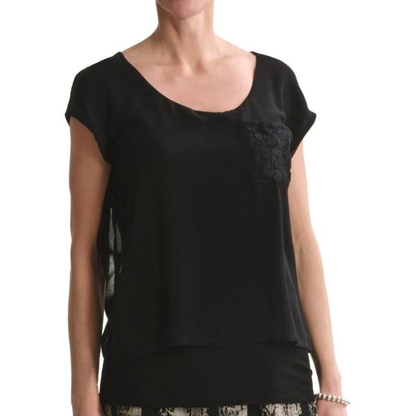 August Silk Softly Layered Shirt - Short Sleeve (For Women)