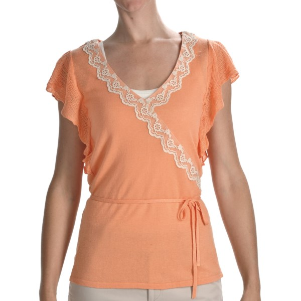 CLOSEOUTS . Knit from a crisp, summer-weight blend of linen and viscose, this enchanting August Silk wrap shirt is trimmed in romantic lace at the faux-wrap neckline and all a-flutter at the gossamer sleeves. Available Colors: BLACK, ASH BLONDE, GINGER, GRAPE HEAT. Sizes: S, M, L, XL.