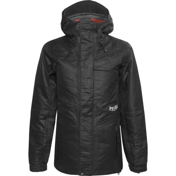 CLOSEOUTS . Volcom's Vision TDS down snowboard jacket is the perfect antidote to snowstorms and cold temperatures. Its Thermal Defense System delivers warmth and waterproof protection, with down insulation, a fleece lining and a detachable face mask that clips to the hood. Available Colors: BLACK. Sizes: XS, S, M, L.