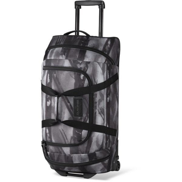 CLOSEOUTS . Go large on your next world tour with the DaKine rolling duffel bag. Zip end pockets and a U-shaped opening provide easy and quick access to your gear, and the durable wheels make navigating airports a breeze. Available Colors: GENEVE, HOUNDSTOOTH, LUNA, TARTAN, CHARCOAL, PHANTOM, FORDEN, RED, BLACK, BLACK STRIPES, STENCIL, BRIDGEPORT, FLOURISH, HIGHLAND, JASMINE, VIENNA, GRADIENT, NEWPORT, HOOD, PACIFIC, CAPRI, JULIET, VERA, VISTA, CAMO, MEDALLION, GLACIER, SMOLDER, BLUFLOWERS, LATTCEFLRL, TAOS.