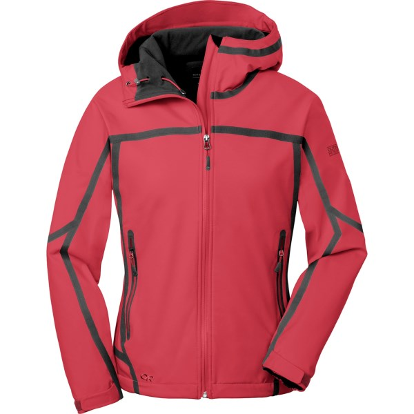 CLOSEOUTS . When you're walking through a cold rain on the trail or moving through snowy mountain terrain, the waterproof breathable soft shell fabric of Outdoor Research's Mithril jacket provides comfortable wet weather protection. Available Colors: TURQUOISE, BLUEBIRD, BLACKBERRY, EMERALD, DESERT SUNRISE, ATLANTIS/AQUARIUM, PEWTER, PLUM, BLACK, ORCHID/CROCUS, FLAME. Sizes: XS, S, M, L, XL, XXS, 2XL, 2XS.