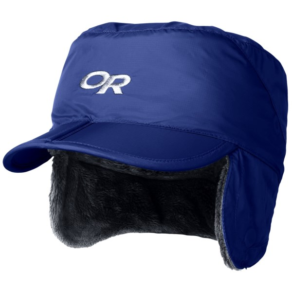 CLOSEOUTS . Fully lined in fuzzy-soft Posh Pile fleece and topped off with water-resistant, wind-shielding Pertexand#174;, Outdoor Research's Expedition hat is perfect for ultra-cold winter days, complete with ear flaps and a sturdy brim. Available Colors: PEACOCK, RETRO RED, EVERGREEN, ABYSS, BLACK. Sizes: S, M, L, XS, XL, 2XL.