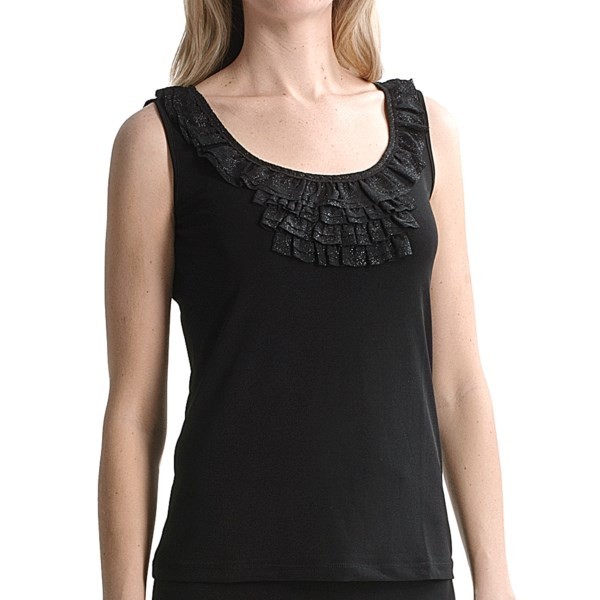 CLOSEOUTS . A twinkling of ruffles gather at the neckline of this smooth jersey shirt from Travel by Tribal Sportswear, adding a little night-on-the-town flavor to this simple jersey tank. Available Colors: BLACK, CREAM. Sizes: XS, S, M, L, XL, 2XL.