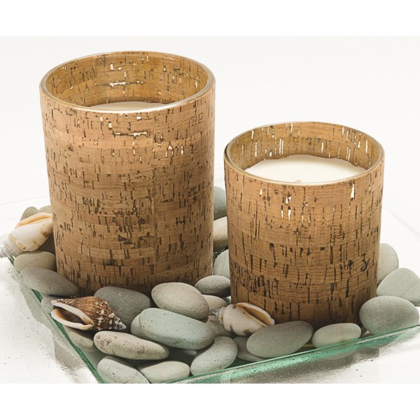 CLOSEOUTS . Tag's Cork and Glass votive holder filled with tropical-surf scented candle is sure to spruce up any room with gently-wafted scents and softly diffused light through the real-cork-wrapped glass.      Glass votive candle holder wrapped in real cork    Tropical-surf scented 4'' candle     Height:  4andquot;     Diameter:  3-1/2andquot;     Weight:  1 lb. 5 oz.     Material:  Cork-covered glass, wax candle    Made in China     Available Colors: NATURAL.