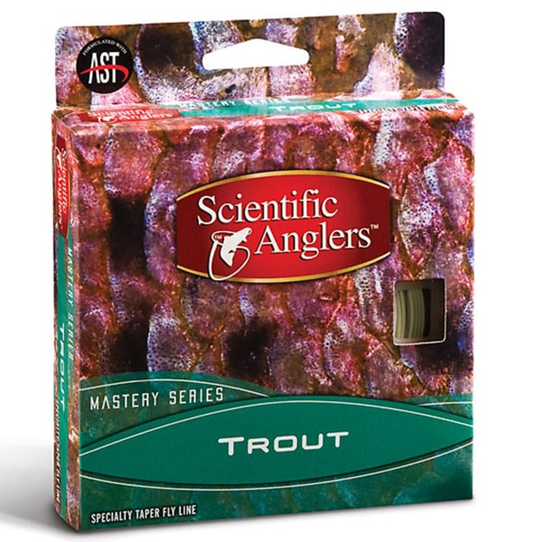 CLOSEOUTS . A specialty taper fly line perfect for traditional presentations, Scientific Anglers' Mastery Series Trout fly fishing line features a mid-length head and a concave compound front taper that delicately delivers dry flies irresistible to Trout. Available Colors: FIRE ORANGE, WILLOW/DARK WILLOW, DARK WILLOW.