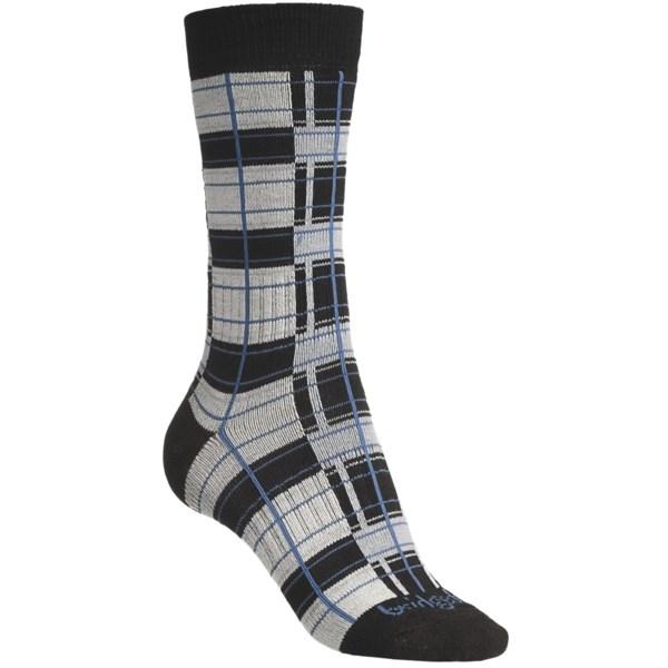 Bridgedale Plaid Socks   Rayon  Crew (For Women)   BLACK/PINK PLAID (M )