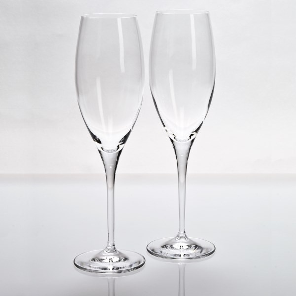 CLOSEOUTS . When there's cause for celebration, bring out the bubbly and Riedel's Heart to Heart champagne glasses, made in Germany according to a 250-year tradition of German glass making. Available Colors: SEE PHOTO.