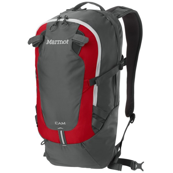 CLOSEOUTS . With a padded laptop sleeve, gear lash points, durable construction and a breathable air mesh back panel, Marmot's Cam 15 backpack knows how to perfectly balance work and play. Available Colors: BLACK, SURF/PEACOAT, AMAZON/LIME, TEAM RED/CINDER, GREEN LICHEN/GLACIER GREY, SEA GLASS/GLACIER GREY, SLATE GREY/STEEL, DARK GRANITE/CINDER.