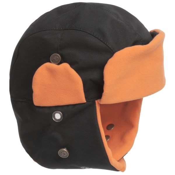CLOSEOUTS . Discovery Expedition's Techpore Trapper hat is made of durable nylon on the exterior to shed moisture, and its breathable, temperature-regulating fleece lining ensures you stay warm without overheating. Available Colors: BLACK, GREY. Sizes: M, L, XL.