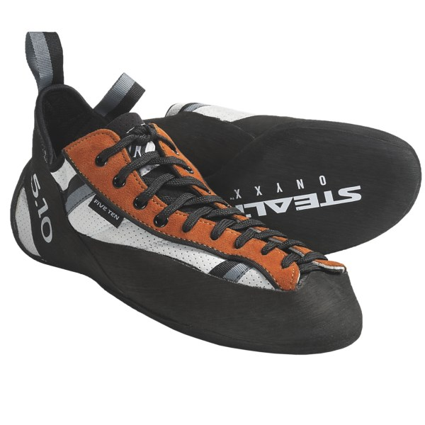 CLOSEOUTS . Super stiff and comfortable, Five Ten's Newton climbing shoes are designed to defy the law of gravity all day long. The supportive midsole and outsole offer the edging power and support you need for long routes. Available Colors: ORANGE. Sizes: 8, 8.5, 9, 9.5, 10, 10.5, 11, 11.5, 12, 12.5, 13, 14, 13.5, 15.