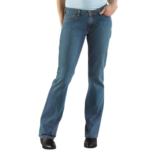 2NDS . Got hips? Carhartt's curvy-fit basic jean fits like a dream and the contoured waistband eliminates back gap. Available Colors: FADED BLUE INDIGO, BLACK, DARK NIGHT, VINTAGE INDIGO. Sizes: 2, 4, 6, 8, 10, 12, 14, 16, 18, 20.