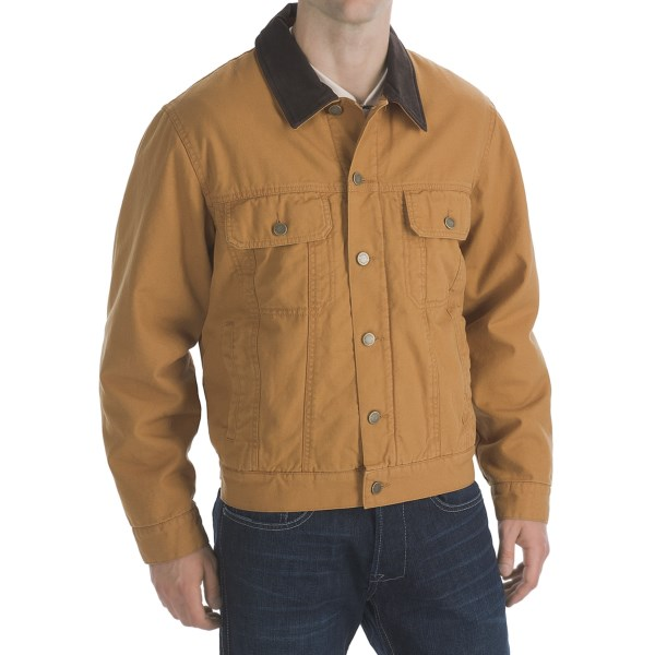 Product Description Heavy washed duck canvas work wear hooded bomber jacket with full faux.
