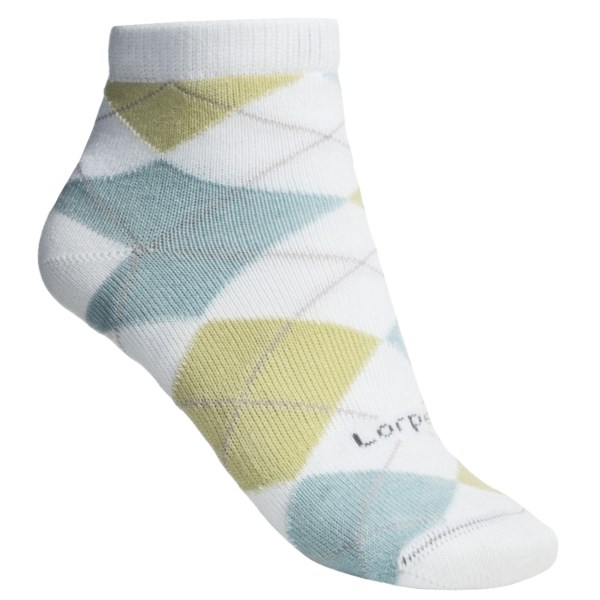CLOSEOUTS . Under the timeless argyle pattern, Lorpen's Comfort Life Carly ankle socks tame your daily foot stress with an ultrasoft, breathable modal and a generous amount of Lycraand#174; stretch for comfort and durability. Available Colors: PINK/COCO, CELERY/GREY HEATHER, WHITE/SEAFOAM, LIGHT BLUE CARIBBEAN. Sizes: S, M.