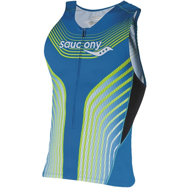 CLOSEOUTS . Charged up with plenty of land and sea speed know-how, Saucony's Tri zip tank top takes no chances with race-day performance. High-compression, hydrophobic triLete fabric controls moisture, enhances muscle output and reduces fatigue. Available Colors: ASTRO BLUE. Sizes: S, M, L, XL, 2XL.