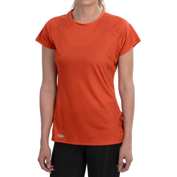 CLOSEOUTS . Perfect for trail runs and tough hikes, Outdoor Research's Echo Graphic UPF 15 T-shirt is made of breathable, featherweight AirVent fabric with Polygieneand#174; odor control. Available Colors: TRILLIUM, TIGERLILY, WILLOW, WHITE, SEAFOAM, NECTAR, FLAMINGO, BLOSSOM, ORCHID, HYDRO, AQUARIUM/ATLANTIS. Sizes: XS, S, M, L, XL, 2XL, 2XS.