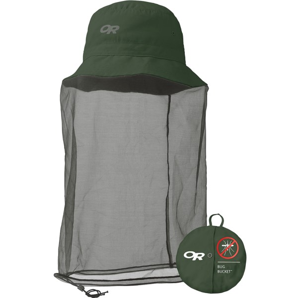 CLOSEOUTS . An essential for backcountry adventures during bug season, Outdoor Research's Bug bucket hat has a no-see-um headnet that extends below your neck and rolls into the brim when it's not needed. Available Colors: GLACIER, EVERGREEN, WALNUT PLAID. Sizes: XS, S, M, L, XL, 2XL.