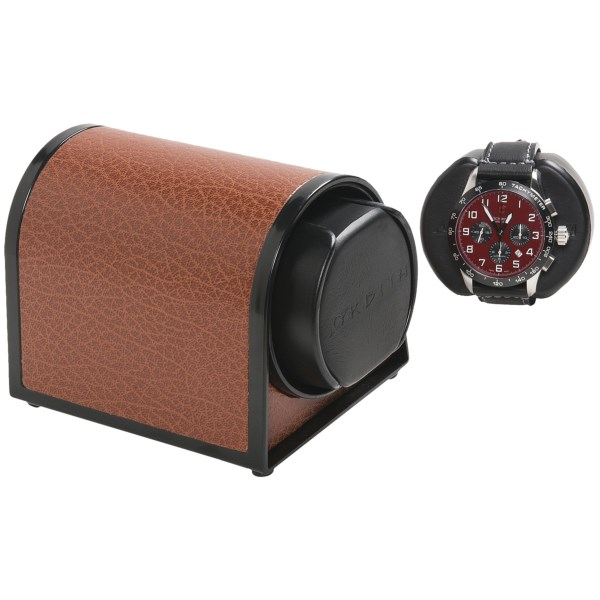 Overstock . The smallest -- and most silent! -- of the Rotorwind collection, Orbita's Sparta 1 mini watch winder is powered by a quiet AC motor and handsomely finished with a textured, faux-leather exterior. Available Colors: BLACK LEATHER, BROWN LEATHER, WHITE LEATHER, RED LEATHER, BLUE LEATHER, PINK LEATHER.