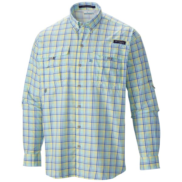 CLOSEOUTS . Whether you're deep sea fishing off the coast of Mexico or just kicking back at the local watering hole, Columbia Sportswear's Super Bahama shirt is made with a soft, sturdy fabric that wicks moisture, won't overheat, resists UV rays and is ready to do it all again tomorrow. Available Colors: VIVID BLUE/MULTI LARGE PLAID, LIGHT METAL/SEERSUCKER, BROWNSTONE/SEERSUCKER, SAIL RED/MULTI LARGE PRINT, NUCLEAR/MULTI LARGE PRINT, NEON LIGHT/SEERSUCKER, BRIGHT PEACH/SEERSUCKER, KING CRAB/MULTI LARGE PRINT, MIRAGE/STRIPE PLAID, SUNLIT/STRIPE PLAID, BRIGHT PEACH MULTI GINGHAM, SAGE/GINGHAM CHECK, KEY WEST/GINGHAM, CAPRI/GINGHAM, FOSSIL GINGHAM, CHAMELEON GREEN/CHECK, VIVID BLUE/CHECK, JADE LIME/GINGHAM, COMMANDO PLAID, KEY WEST PLAID, BLUE HERON PLAID, WHITE CAP GINGHAM, COLLEGIATE NAVY PLAID, SUNSET RED GINGHAM, JUPITER/GINGHAM. Sizes: S, M, L, XL, 2XL, XS.