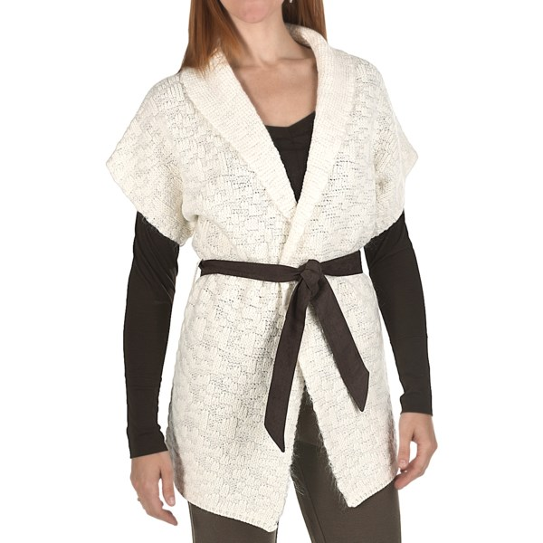 CLOSEOUTS . An absolutely yummy wardrobe piece in a loosely knit blend of wool and mohair, this Joan Vass cardigan sweater is stylishly topped with a soft brown tie belt in suede-like microfiber. Available Colors: SEASALT. Sizes: 0, 1, 2, 3.