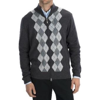 Lux-ID 191286  Toscano Argyle Zip Sweater - Merino Wool-Acrylic