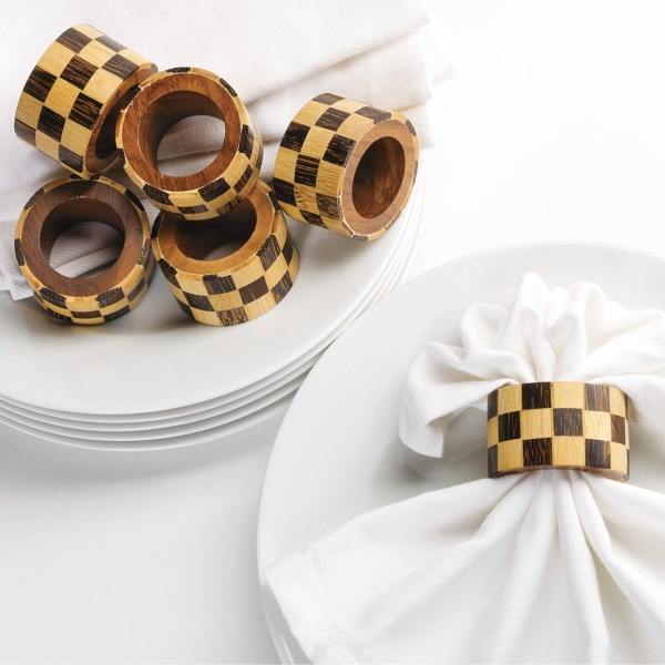 DII Check Napkin Rings - Set of 6, Wood