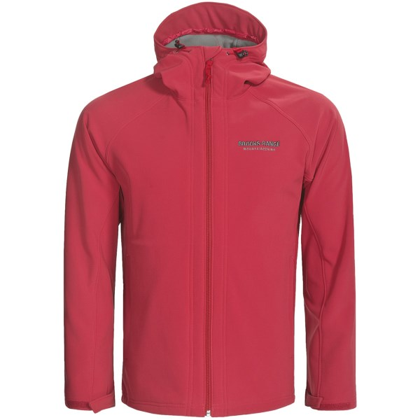 CLOSEOUTS . A stretchy, highly wind- and water-resistant soft shell, Brooks Range's Black Mountain jacket is ideal for tackling tough mountain trails in a wide variety of weather conditions -- just add layers beneath it for more warmth in frigid temperatures. Available Colors: BLACK, DARK BLUE, POSITIVE RED, GOLD. Sizes: S, M, L, XL.