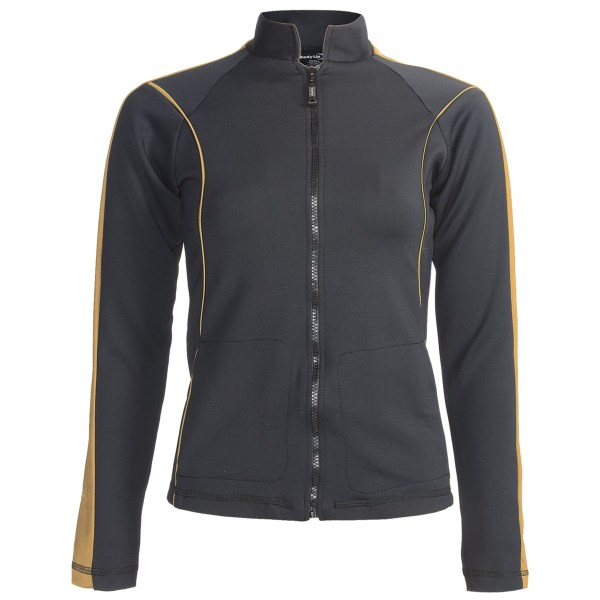 CLOSEOUTS . Borrowing inspiration from motorcycle apparel, Body Up's First Class jacket blends sporty appeal with the comfort worthy of a superstar. Its luxuriously soft knit helps to control moisture, and contrasting details set this layer apart from the crowd. Available Colors: BLACK/GOLD, BLACK/SILVER. Sizes: S, M, L.
