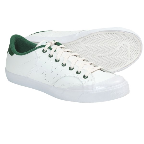 CLOSEOUTS . Featuring a sleek leather upper in a low-profile silhouette, New Balance's Pro Court Lite shoes kick it old school with retro court styling that's certain to garner some respect. Available Colors: WHITE/GREEN. Sizes: 8, 8.5, 9, 9.5, 10, 10.5, 11, 11.5, 12, 13.