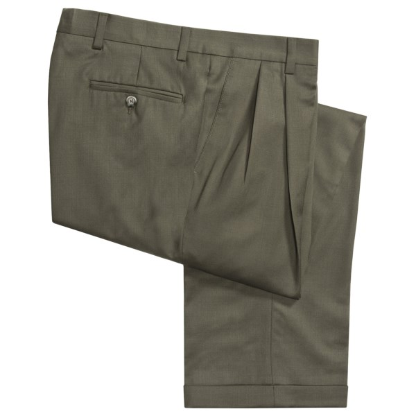 CLOSEOUTS . Cuffed, pleated pants bring an element of refinement to the well-dressed gentleman, and these Barry Bricken pants execute the style in a beautifully draping gabardine. Available Colors: NAVY, TOBACCO, TAN, TAUPE, TAN HEATHER, LIGHT GREY, DARK OLIVE, DARK TAUPE, BLACK, CHARCOAL, OLIVE, MEDIUM OLIVE, MED GREY, 14, OLIVE HEATHER.