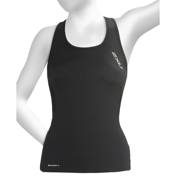 CLOSEOUTS . Versatile and form-fitting, 2XU's Comp Tri singlet top has a built-in shelf bra and is made of quick-drying, breathble SBR SKIN X fabric. Available Colors: BLACK, CORNFLOWER BLUE/COASTAL BLUE, INDIGO/BLISTER PINK, WHITE, BLACK/BLACK, GREEN MIST/NAVY. Sizes: XS, S, M, L, XL, 2XL.
