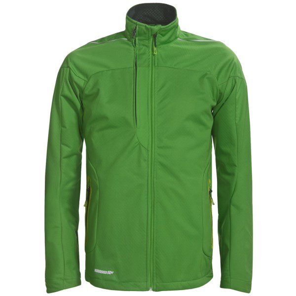 CLOSEOUTS . Just as perfect for added protection on a run as it is for warmth on a walk downtown, Karhu's Delta jacket features warm, weather-resistant soft shell construction with a brushed interior that provides moisture management. Available Colors: GREEN/BLACK. Sizes: S, M, L, XL.